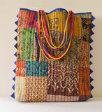 Multi Colour Vintage Kantha Tote Blue