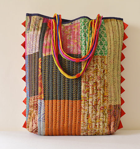 Multi Colour Vintage Kantha Tote Red