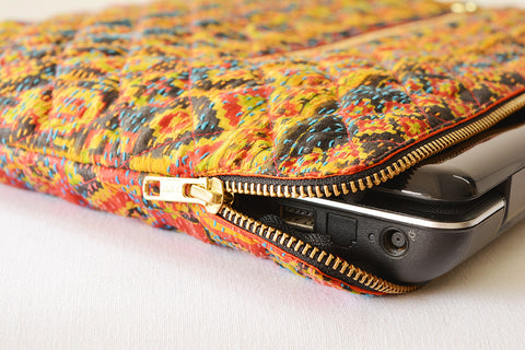 Yellow Vintage Kantha Silk Laptop Sleeve