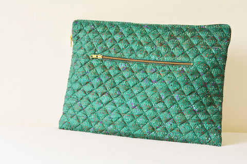 Teal Vintage Kantha Silk Laptop Sleeve