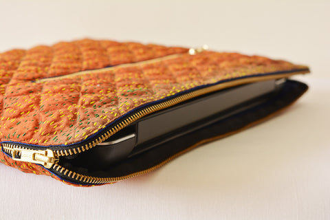 Rust Vintage Kantha Silk Laptop Sleeve