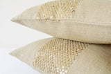 Natural Linen Pillow Cover with Hand  Stitched Gold Sequins