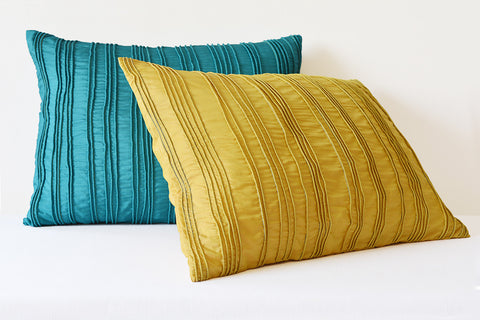 Yellow Textured Cushion Cover with Dori Pleats