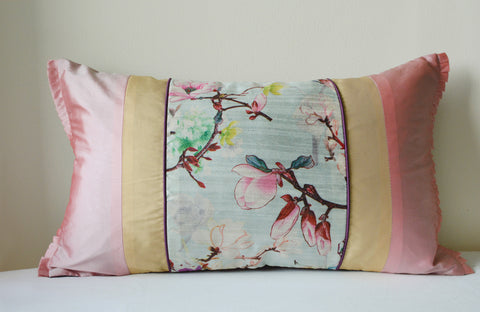 Floral Pale Blue Patchwork Cushion Cover
