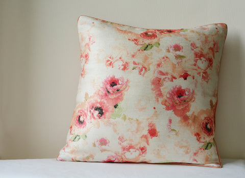 Floral Vintage Rose Cushion Cover with Cord Piping