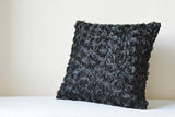 Rosette, Black Textured Pillow Cover
