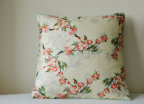 Floral Pale Yellow Cushion Cover with Cord Piping
