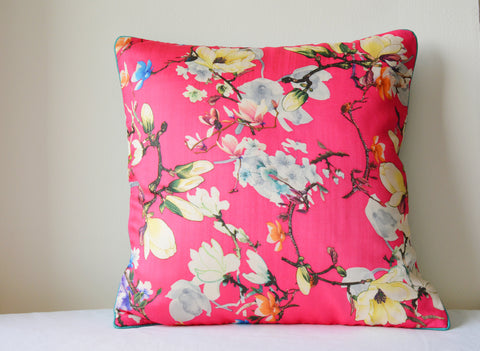 Floral Hot Pink Cushion Cover with Cord Piping
