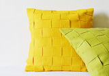 Basket Weave Yellow Felt Cushion Cover