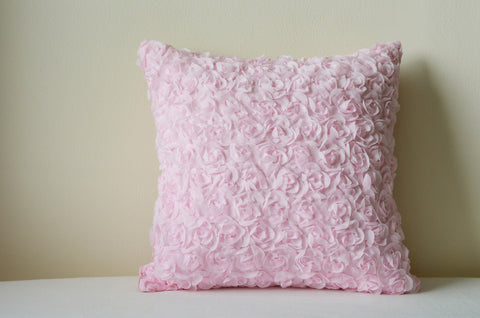 Rosette, Powder Pink Textured Pillow Cover