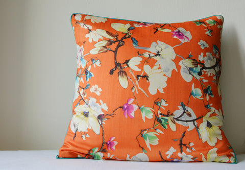 Floral Orange Cushion Cover with Cord Piping