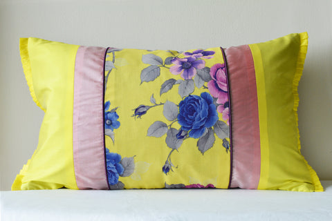 Floral Yellow Patchwork Cushion Cover