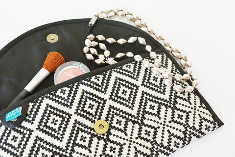 Black and White Jacquard Clutch, Fabric Purse