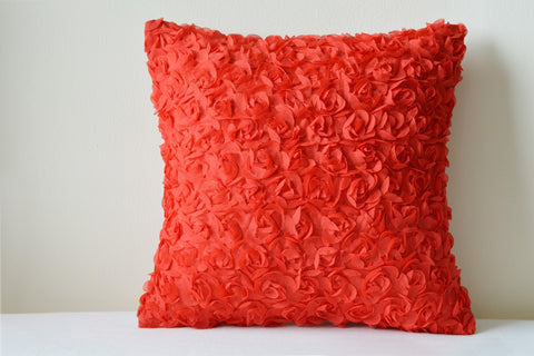 Rosette, Red Textured Pillow Cover