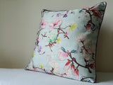 Floral Pale Blue Cushion Cover with Cord Piping