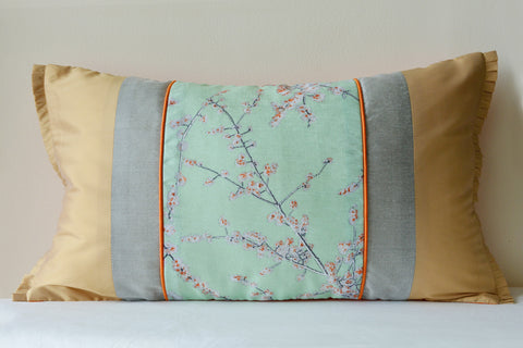 Floral Blue & Beige Patchwork Cushion Cover