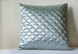 Duck Egg Blue and Silver, Quilted Metallic Pillow Cover,