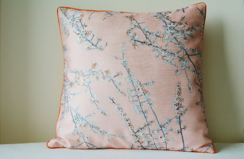 Floral Vintage Pink Cushion Cover with Cord Piping