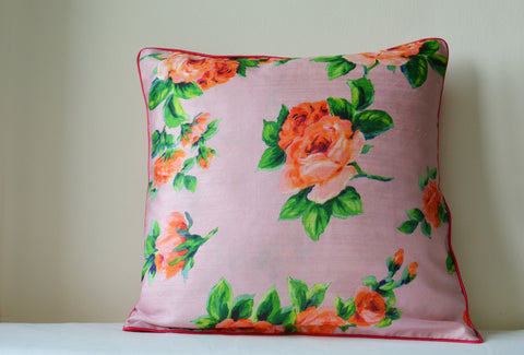 Floral Rose Print Cushion Cover with Cord Piping
