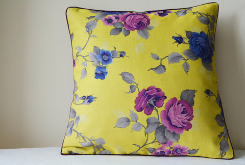 Floral Yellow Cushion Cover with Cord Piping