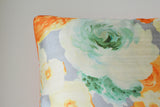 Floral Grey & Orange Cushion Cover with Cord Piping