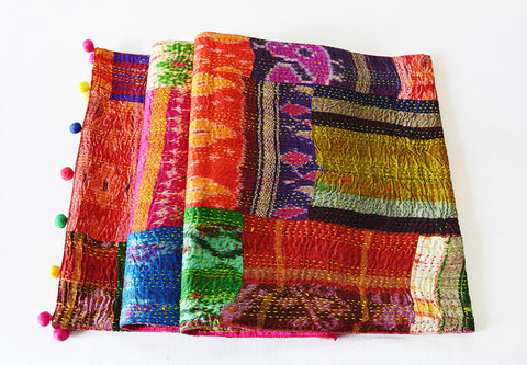 Bright Multi Color Vintage Sari Kantha Patchwork Table Runner with Pom Pom Detail