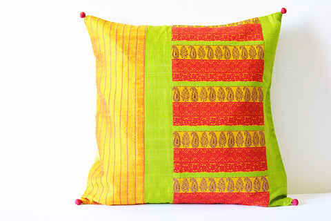 Beautiful Bright Yellow and Red Patchwork Brocade Silk Pillow Cover