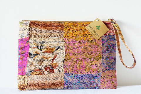 2 Sided Multi-colour Kantha Purse/Sleeve with Wrist Loop