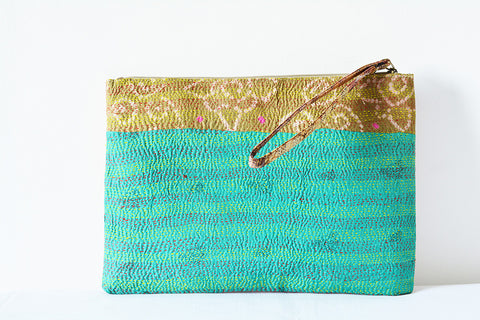 2 Sided Kantha Purse/Sleeve with Wrist Loop, Turquoise