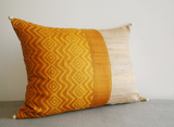 Mustard Yellow Hand Block Printed & Patchwork Rectangle Cushion Cover