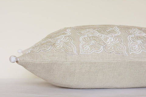 Henna Pattern Off White & Beige Pillow Cover , Embroidered White and Natural Cotton Linen Cushion , White Ecru Natural Cotton Linen Pillow