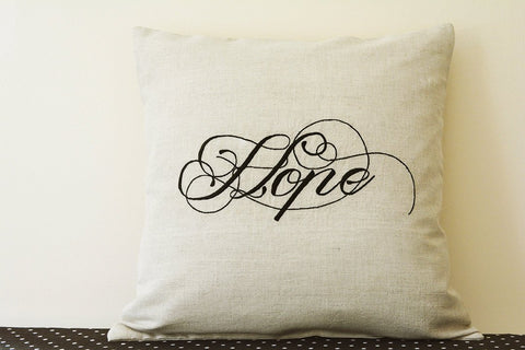 Hope Black Embroidery on Natural Ecru Cotton Linen Cushion Cover