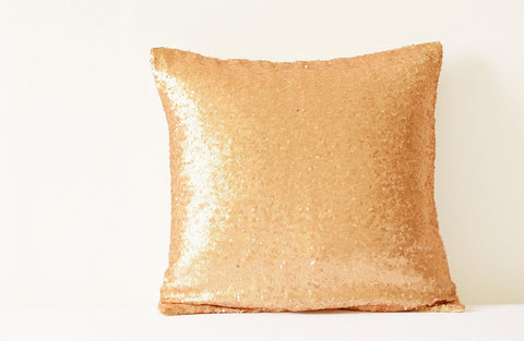 Rose Gold Pillow Cover , Metallic Rose Gold Cushion Cover, Holiday Decor , Sequin Throw Pillow, Gold Decorative Pillow Cover, Sparkle Pillow