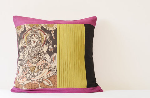 Hand Painted Goddess Saraswati Pillow Cover