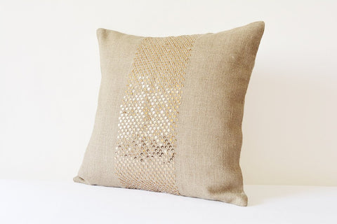 Natural Linen Pillow Cover with Gold Sequins