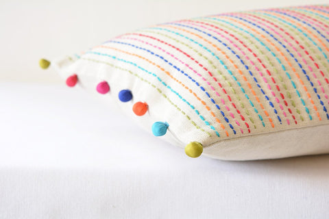 Colourful hand Embroidery on Ecru Cotton Linen