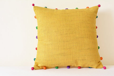Cute Yellow Jute and Cotton Pillow with Multi colour Pom Poms , Yellow Cushion Cover with Pom Poms , Yellow Decor Pillow , Kids Rooms
