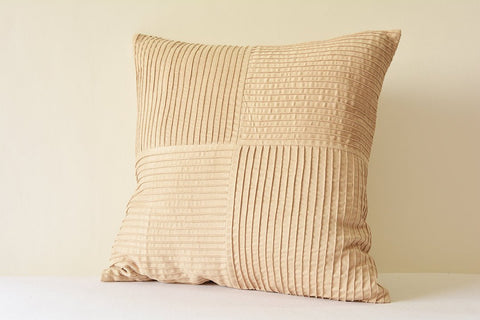 Beautiful Beige Textured Pillow Cover with Pin Tucks