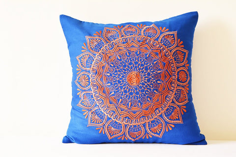 Orange & Blue Embroidered Faux Suede Pillow Cover , Embroidered Blue  Decorative Pillow , Blue Throw Pillow Cover,  Blue Suede Cushion Cover