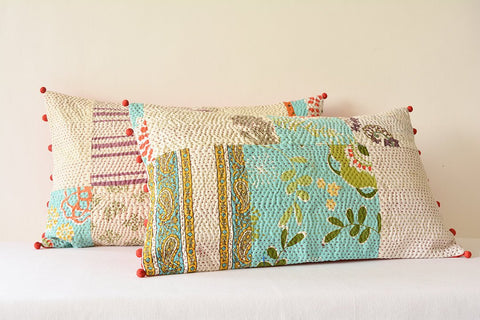 Multi Colour Vintage Cotton Kantha Pillow Cover, 4 layer Cotton Kantha Cushion Cover , Decorative Pillow , Multi Colour Pillows , Boho Decor