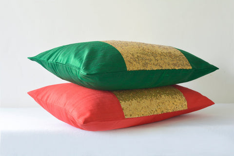 Green & Gold Pillow Cover