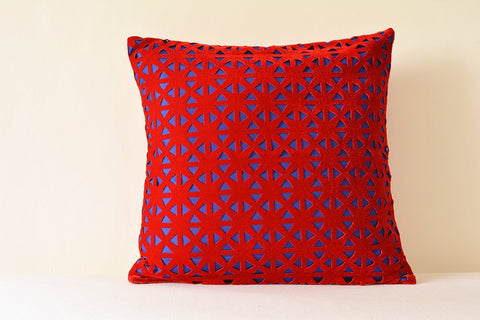 Red and Blue Geometric  Velvet Pillow Cover , Geometric Velvet Cushion Cover , Red Velvet Throw Pillow , Lase Cut Geometric Velvet Cushion