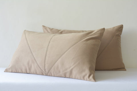 Light Brown Faux Suede Lumbar Pillow Cover with Stitch Detail , Decorative Pillow Cover , Brown Throw Pillow Cover , Suede Cushion Cover