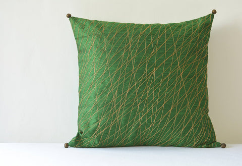 Festive Green Silk Pillow Cover with Copper Stitch Detail , Green & Copper Silk Pillow Cover, Green Decor Pillow Cover , Green Cushion Cover