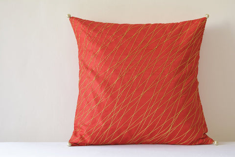 Festive Red Silk Pillow Cover with Gold Stitch Detail , Red & Gold Silk Pillow Cover , Red Decor Pillow Cover , Red and Gold Cushion Cover