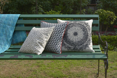 Black Mandala Embroidery on Cotton Linen Pillow Cover