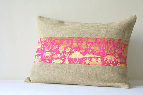 Linen Pillow with Hot Pink Brocade Band , Linen and Brocade Pillow , Industrial Chic Linen Pillow, Holiday Decor, Linen Cushion