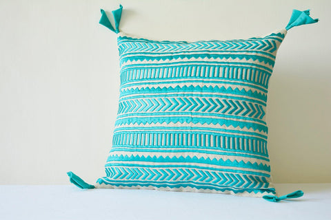 Beautiful Turquoise Embroidery on Natural Cotton Linen Pillow Cover