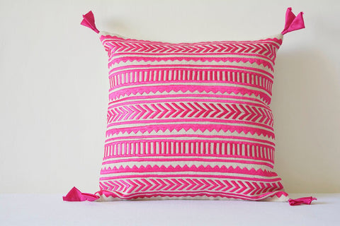 Beautiful Pink Embroidery on Natural Cotton Linen Pillow Cover