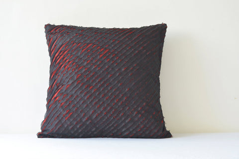 Black and Red Textured & Frayed 2 Layer Faux Silk Cushion Cover